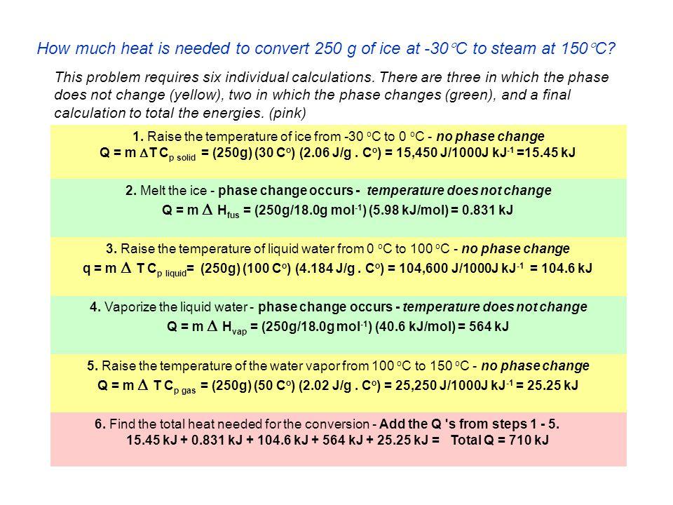 15.45 kJ + 0.831 kJ + 104.6 kJ + 564 kJ + 25.25 kJ = Total Q = 710 kJ