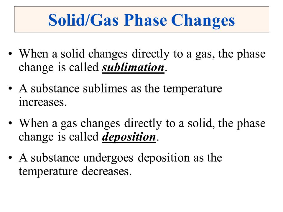 Solid/Gas Phase Changes