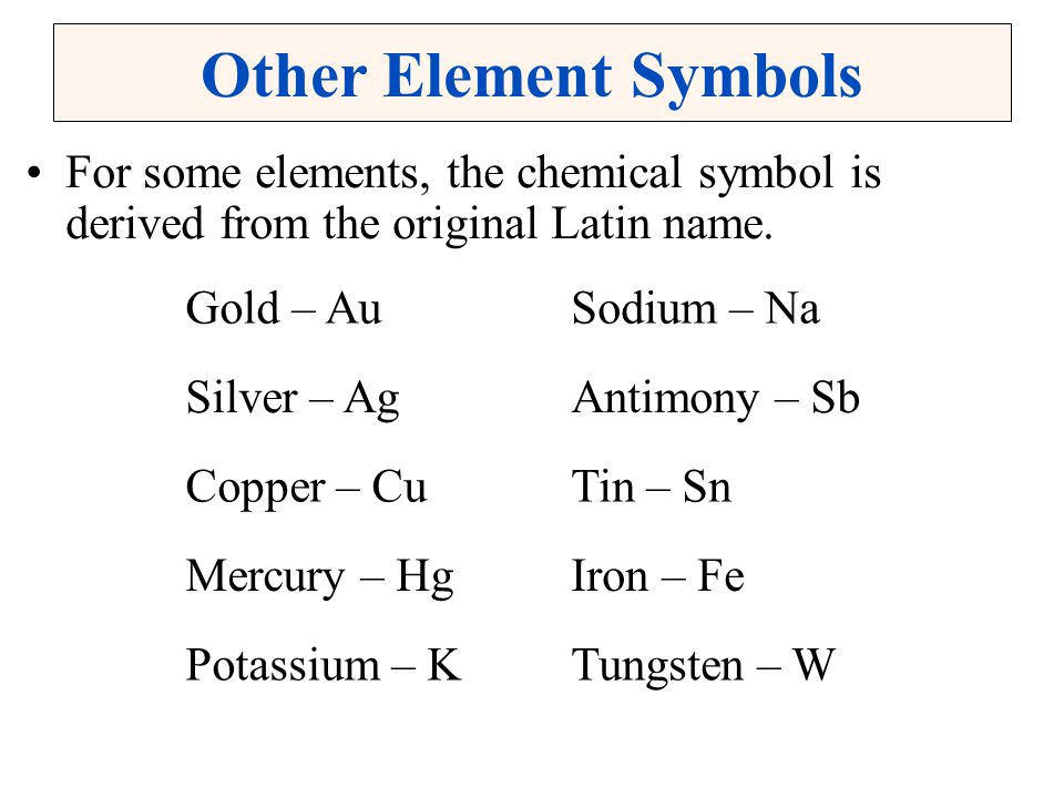 Other Element Symbols For some elements, the chemical symbol is derived from the original Latin name.