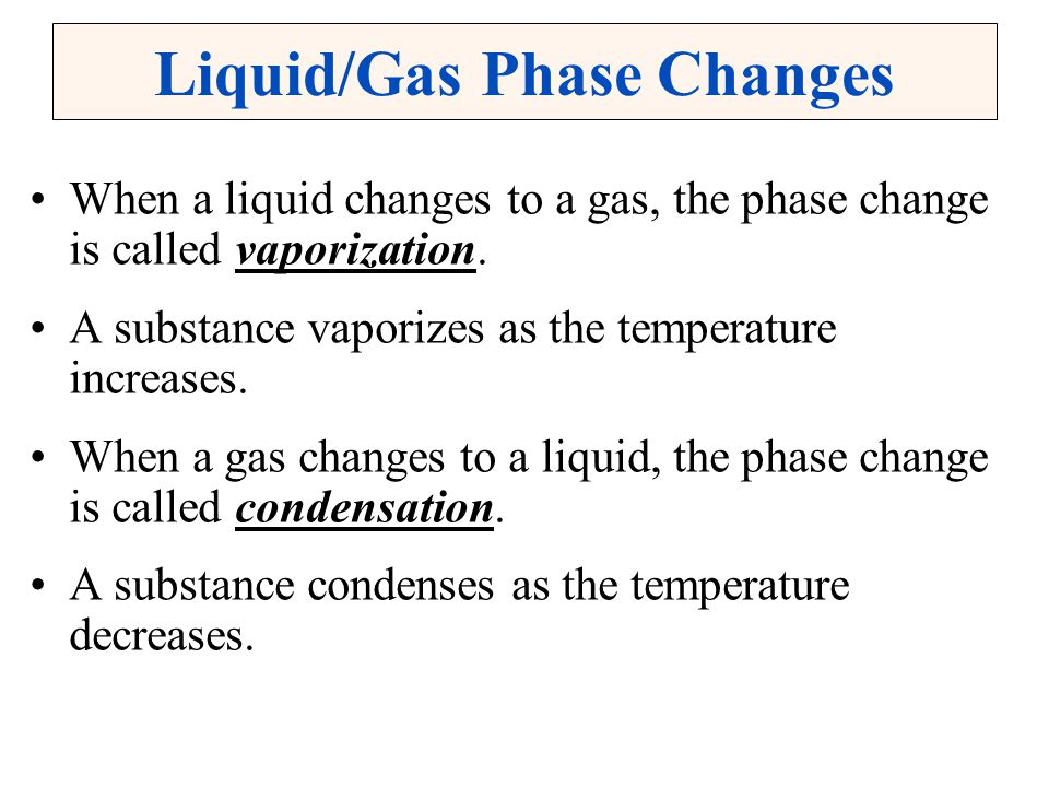 Liquid/Gas Phase Changes