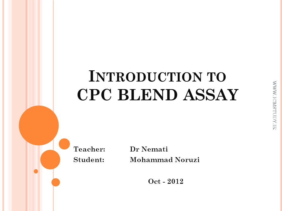 Introduction to CPC BLEND ASSAY