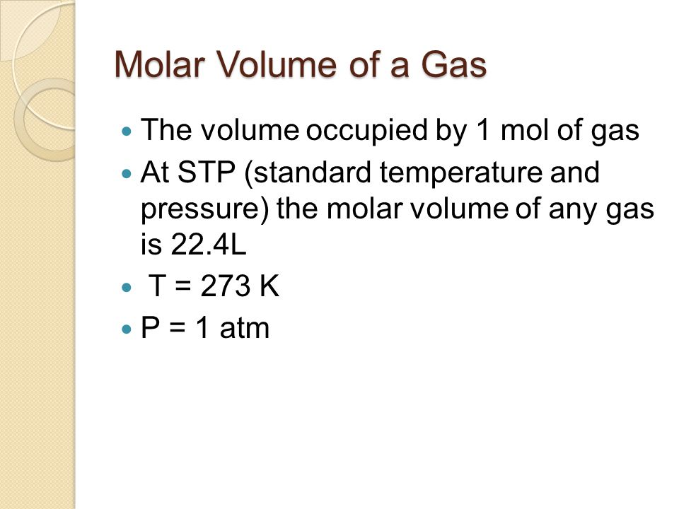 Molar Volume of a Gas The volume occupied by 1 mol of gas