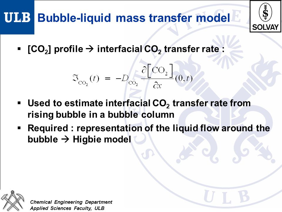 Bubble-liquid mass transfer model
