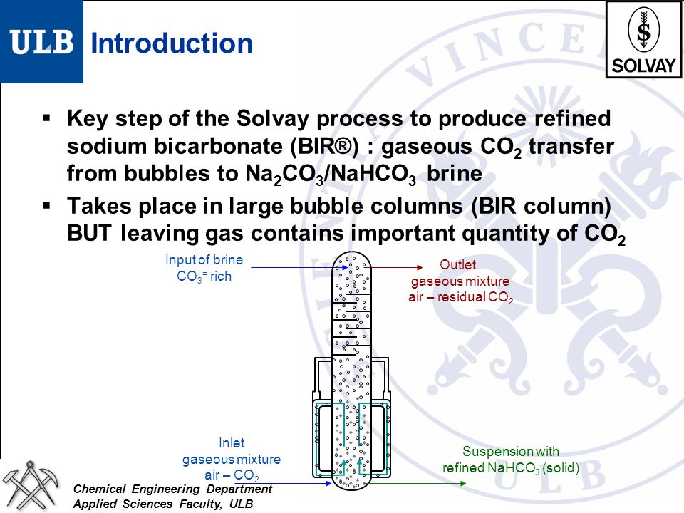 Introduction Key step of the Solvay process to produce refined sodium bicarbonate (BIR®) : gaseous CO2 transfer from bubbles to Na2CO3/NaHCO3 brine.