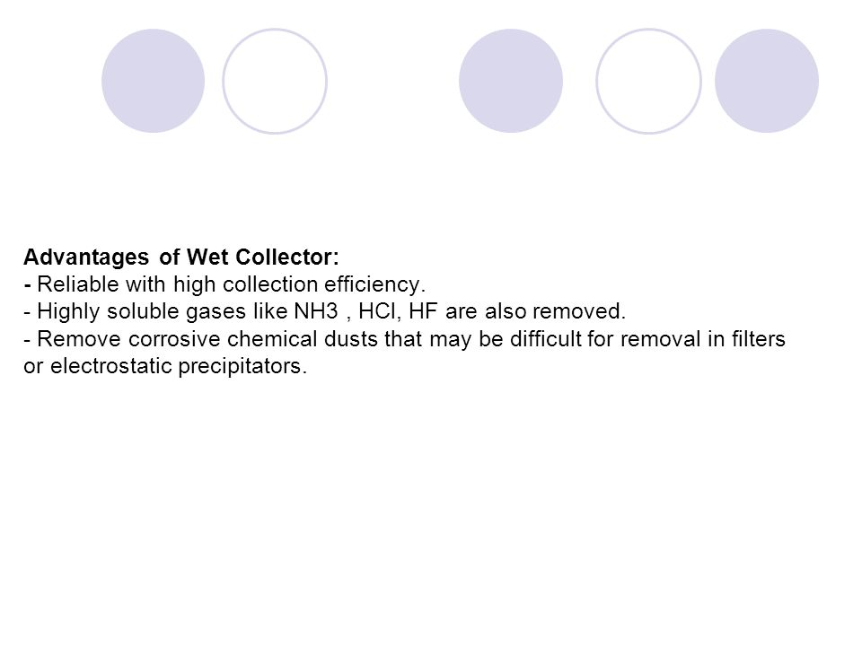 Advantages of Wet Collector: - Reliable with high collection efficiency.