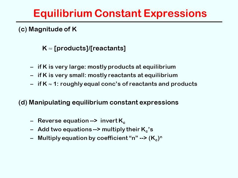 Equilibrium Constant Expressions