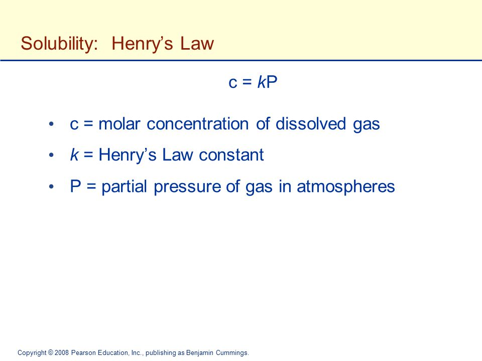 Solubility: Henry's Law