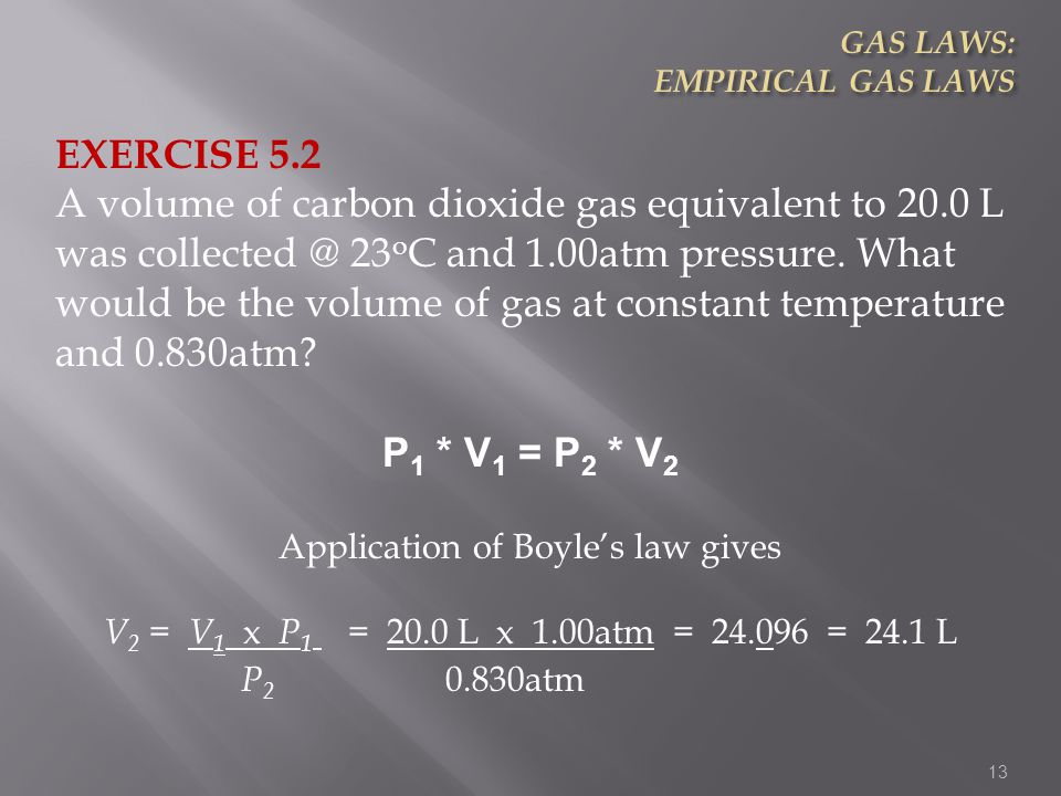 Application of Boyle's law gives