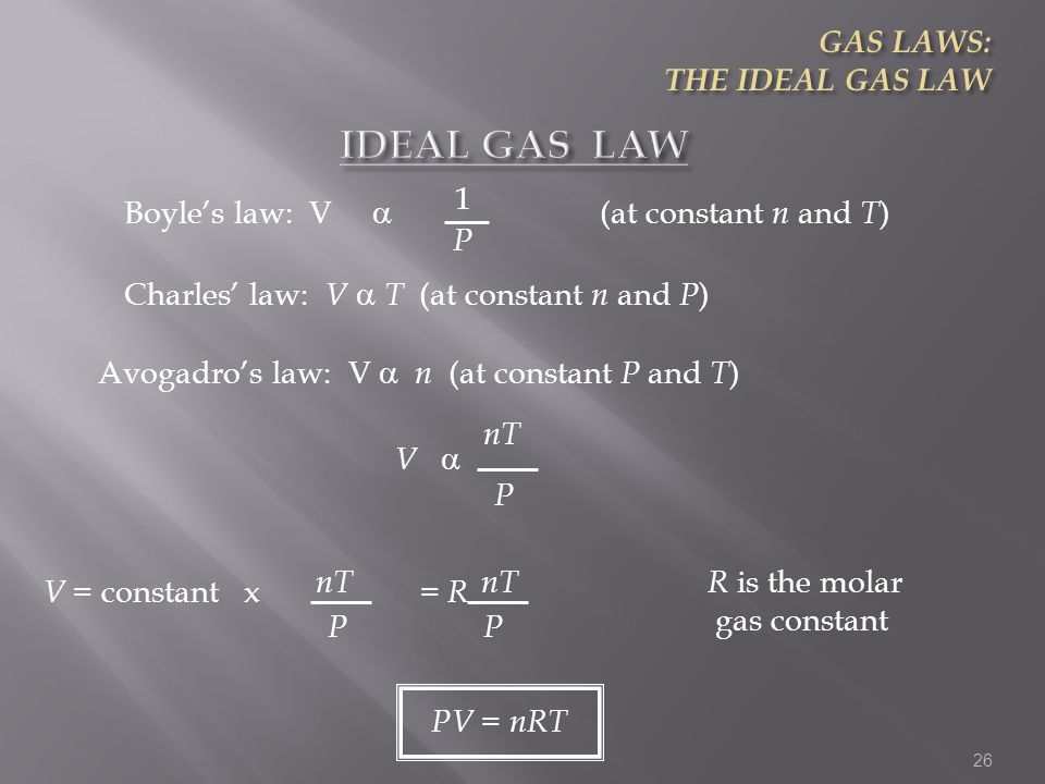IDEAL GAS LAW GAS LAWS: THE IDEAL GAS LAW