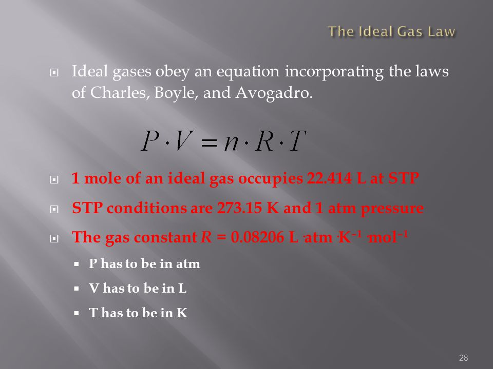 1 mole of an ideal gas occupies 22.414 L at STP