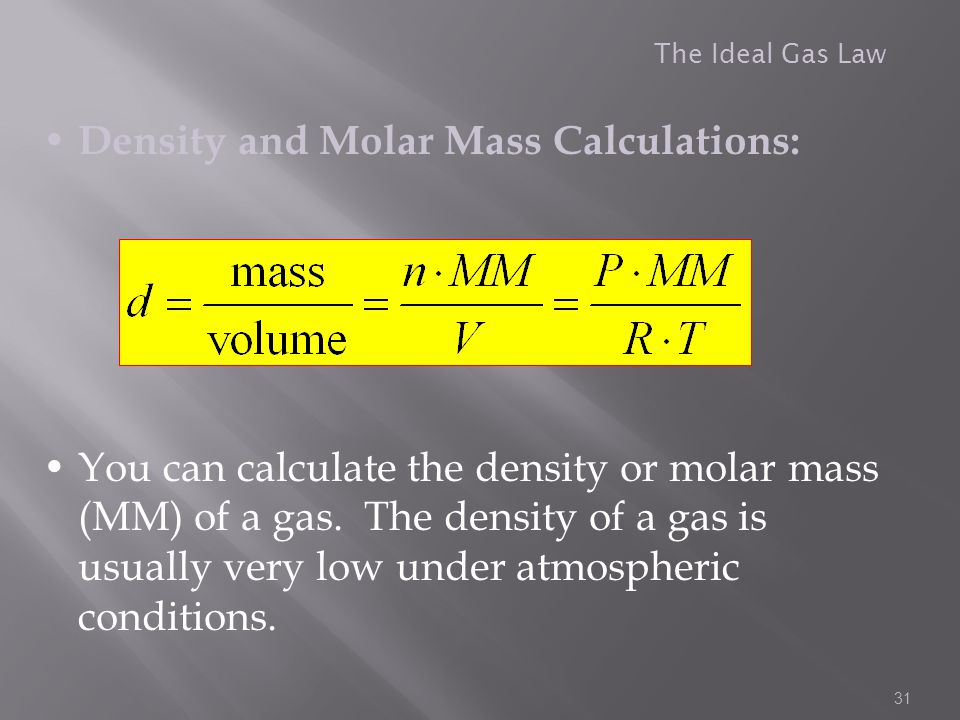 Density and Molar Mass Calculations:
