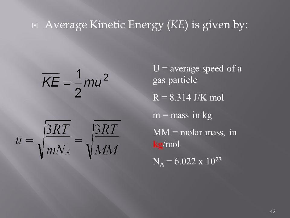 Average Kinetic Energy (KE) is given by: