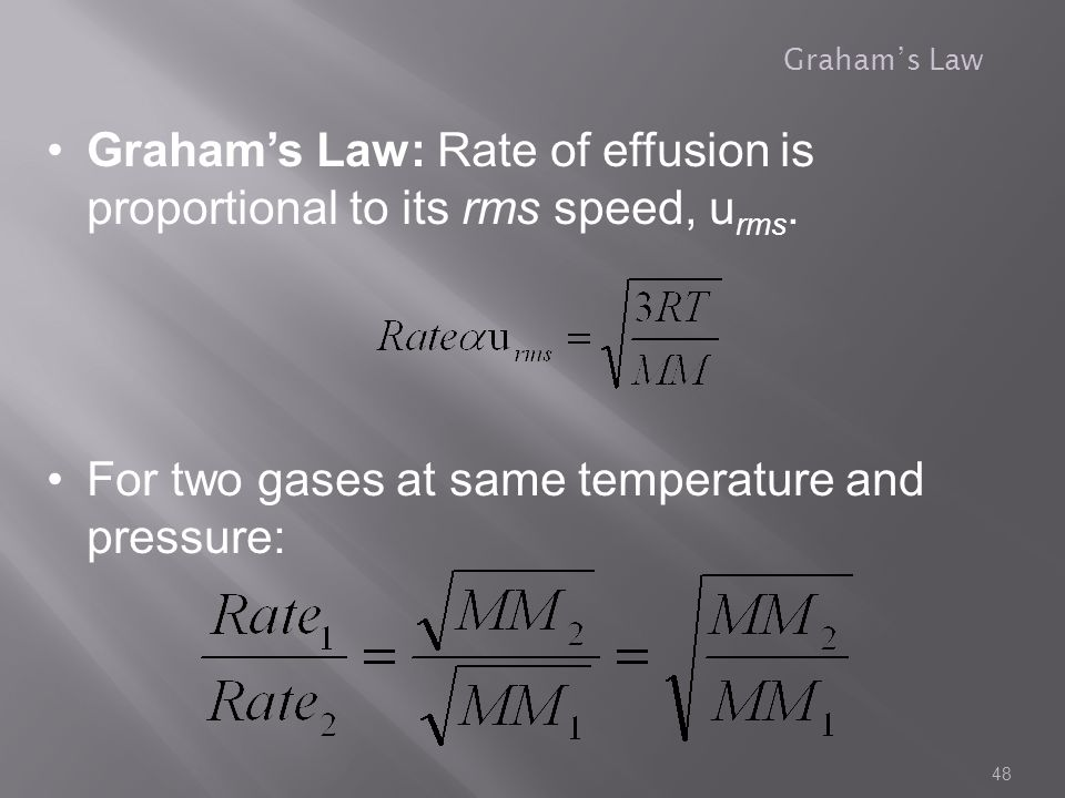 Graham's Law: Rate of effusion is proportional to its rms speed, urms.