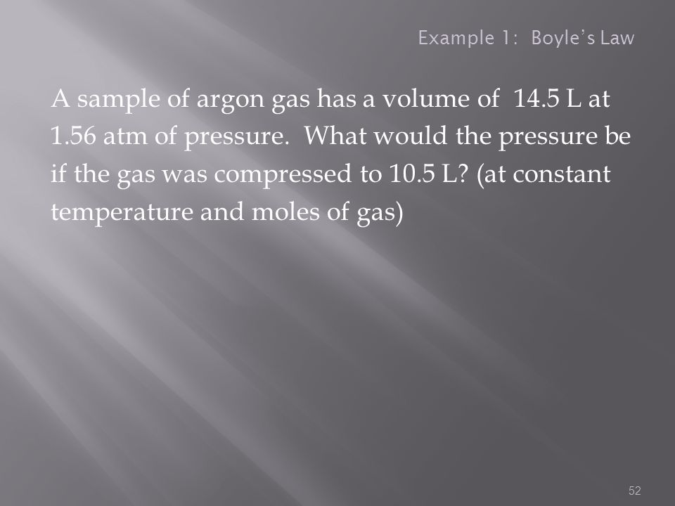 Example 1: Boyle's Law