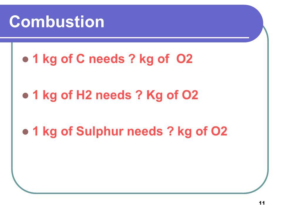 Combustion 1 kg of C needs kg of O2 1 kg of H2 needs Kg of O2