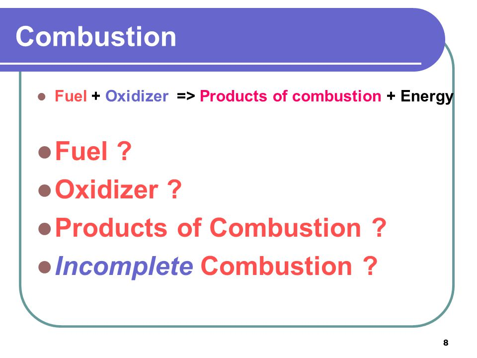 Combustion Fuel Oxidizer Products of Combustion