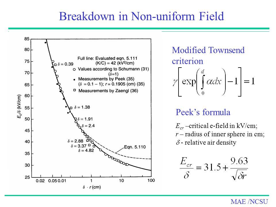 Breakdown in Non-uniform Field