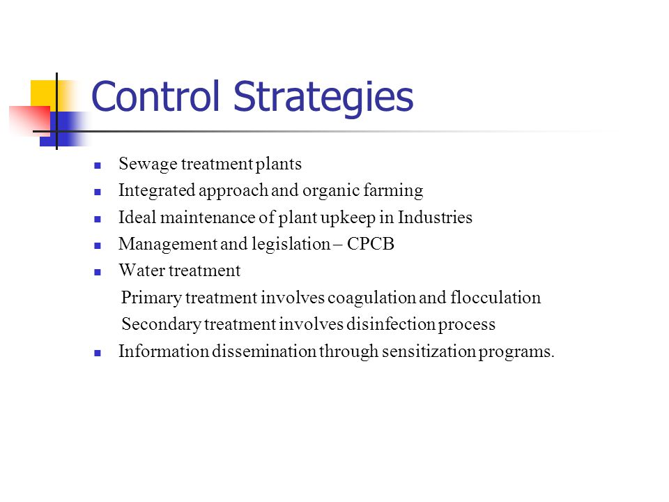 Control Strategies Sewage treatment plants