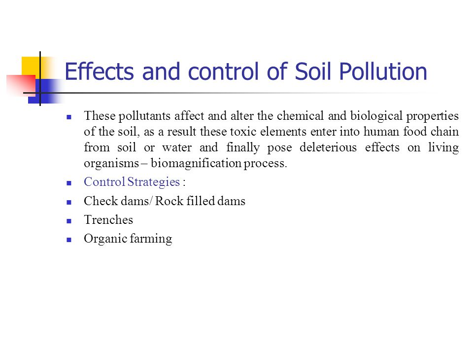 Effects and control of Soil Pollution