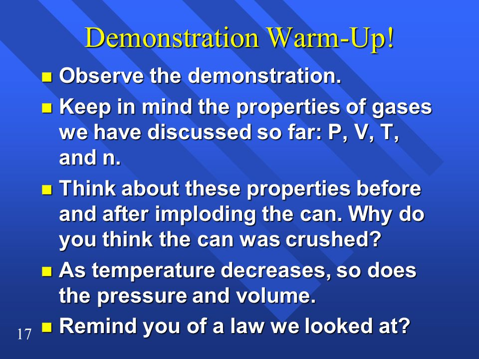 Demonstration Warm-Up!