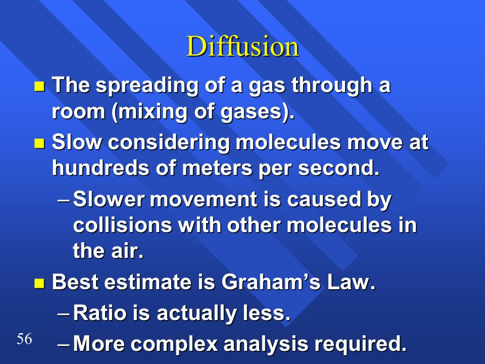 Diffusion The spreading of a gas through a room (mixing of gases).