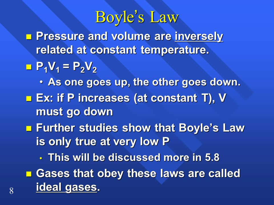 Boyle's Law Pressure and volume are inversely related at constant temperature. P1V1 = P2V2. As one goes up, the other goes down.