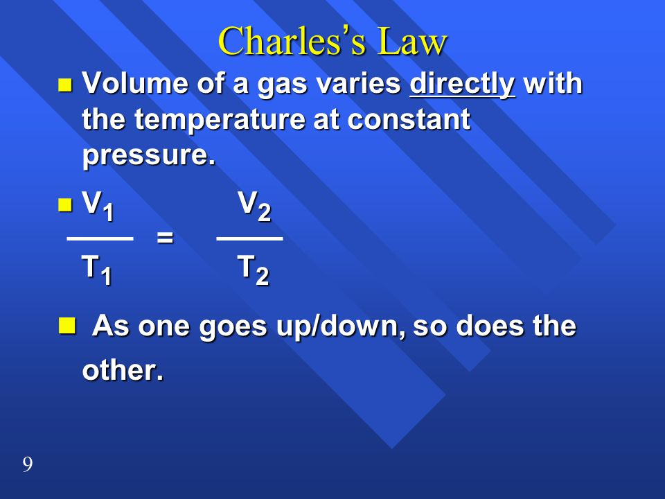 Charles's Law As one goes up/down, so does the other.