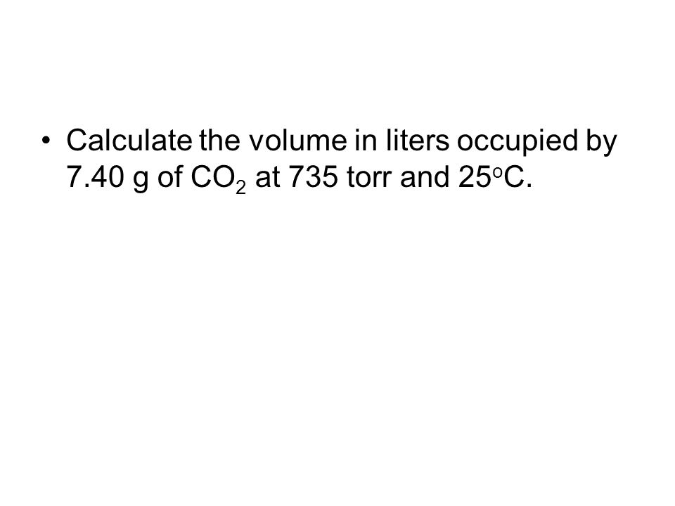 Calculate the volume in liters occupied by 7
