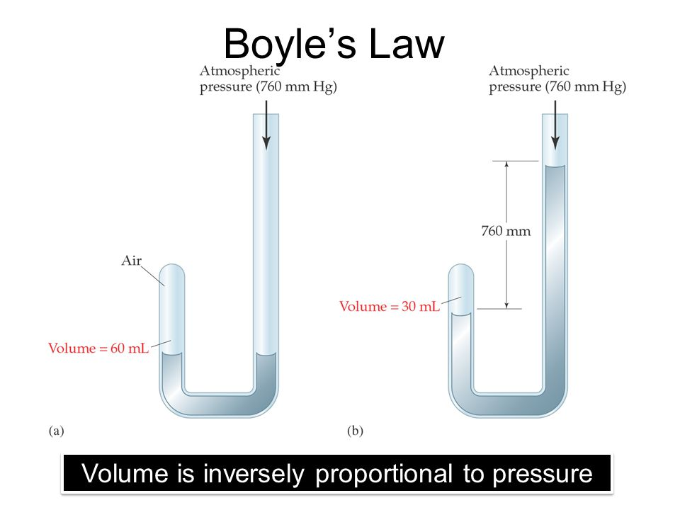 Volume is inversely proportional to pressure