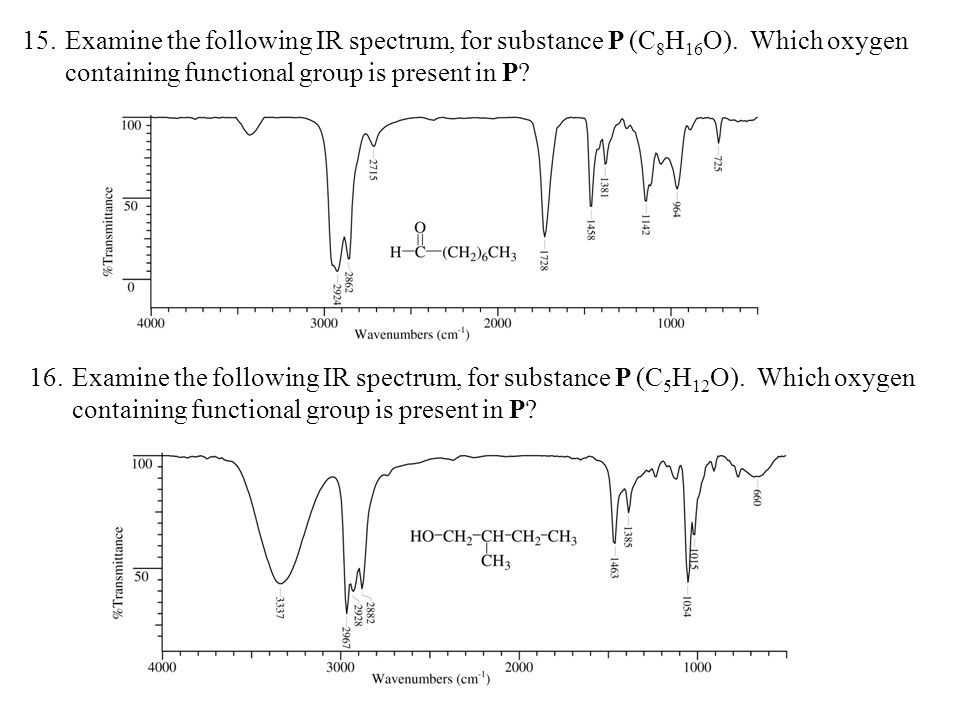 15. Examine the following IR spectrum, for substance P (C8H16O). Which oxygen containing functional group is present in P