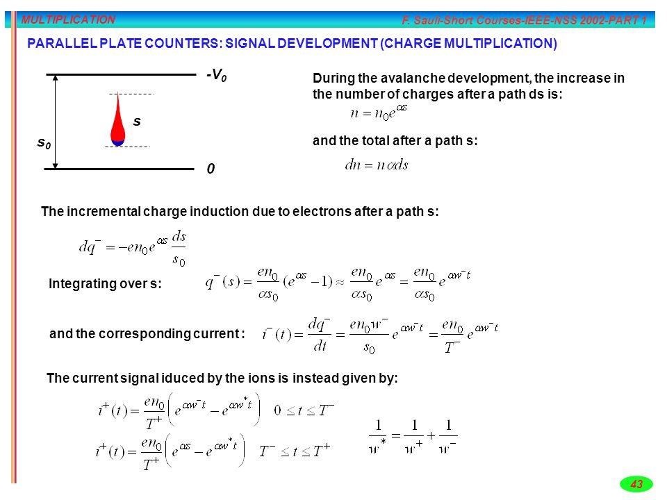MULTIPLICATION PARALLEL PLATE COUNTERS: SIGNAL DEVELOPMENT (CHARGE MULTIPLICATION) s0. s. -V0.