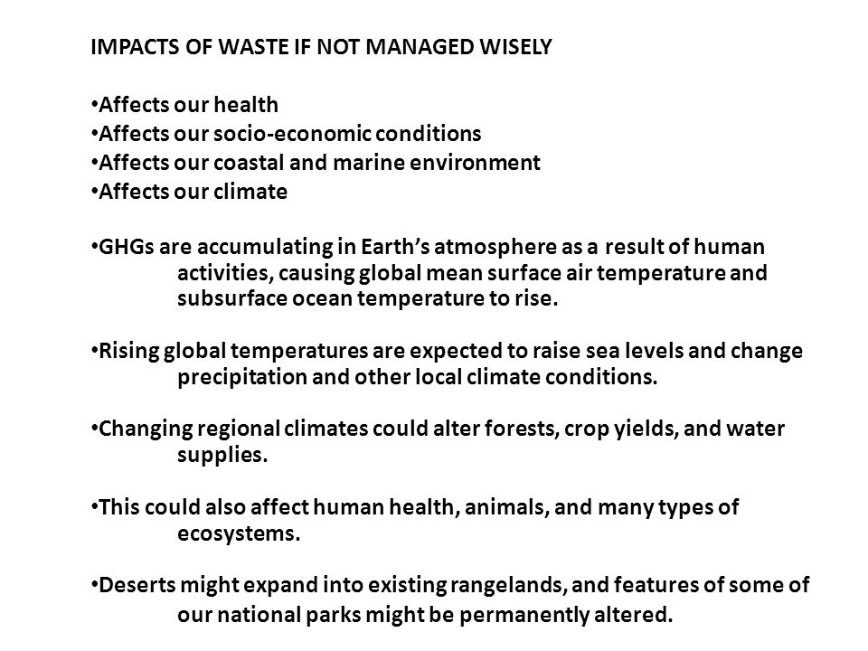 IMPACTS OF WASTE IF NOT MANAGED WISELY