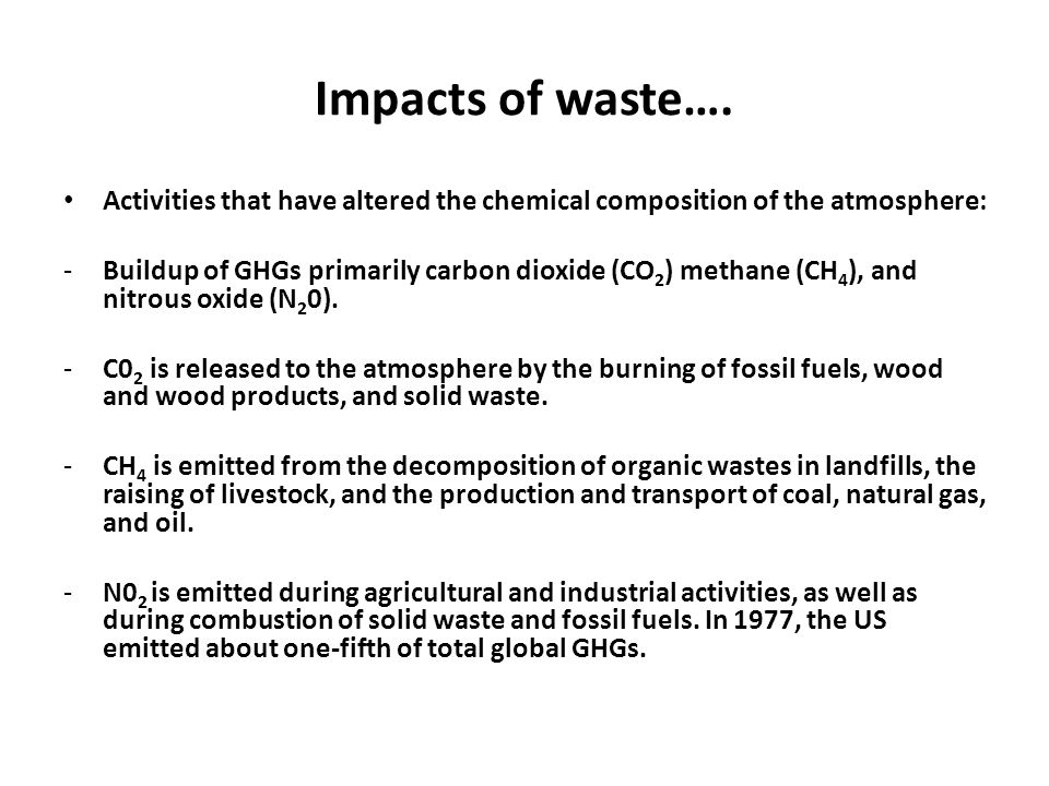 Impacts of waste…. Activities that have altered the chemical composition of the atmosphere: