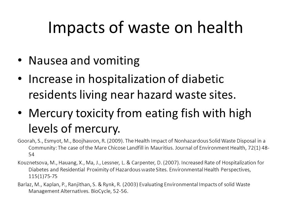 Impacts of waste on health