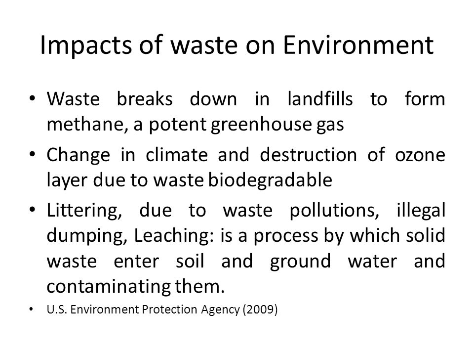 Impacts of waste on Environment