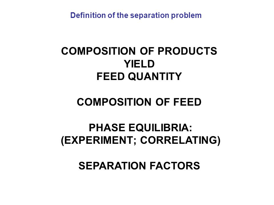 COMPOSITION OF PRODUCTS YIELD FEED QUANTITY COMPOSITION OF FEED