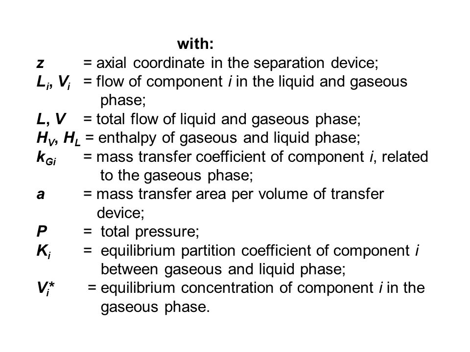 with: z = axial coordinate in the separation device; Li, Vi = flow of component i in the liquid and gaseous.