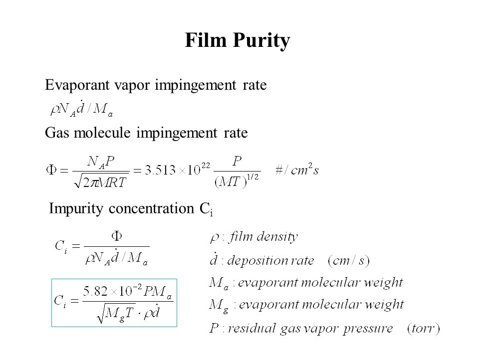 Film Purity Evaporant vapor impingement rate