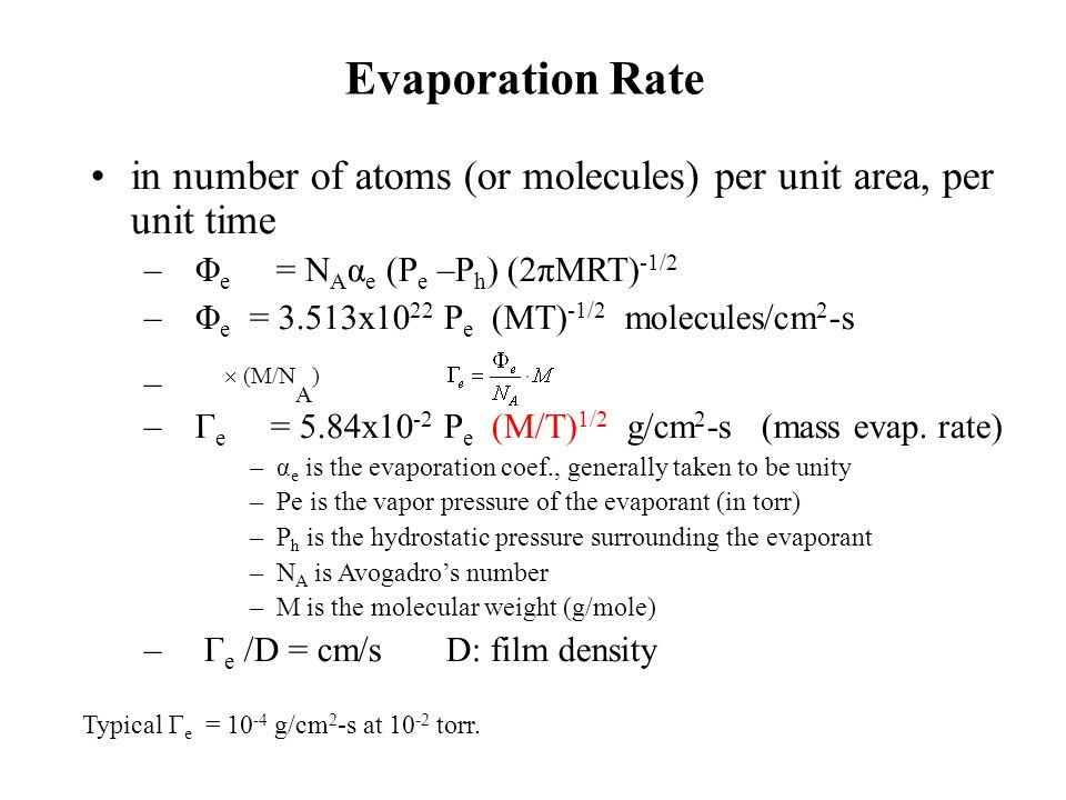 Evaporation Rate in number of atoms (or molecules) per unit area, per unit time. Φe = NAαe (Pe –Ph) (2πMRT)-1/2.