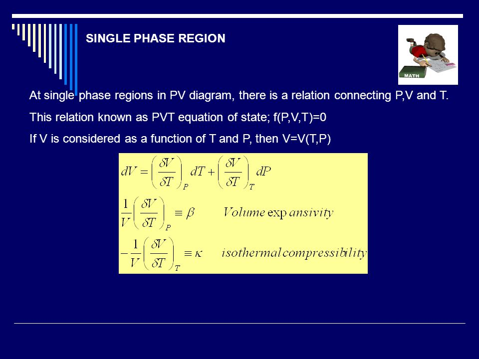 SINGLE PHASE REGION At single phase regions in PV diagram, there is a relation connecting P,V and T.