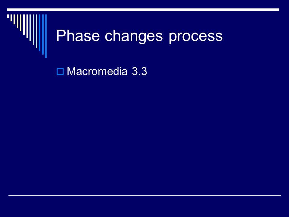 Phase changes process Macromedia 3.3