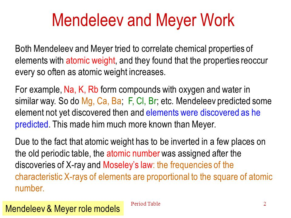 Mendeleev and Meyer Work