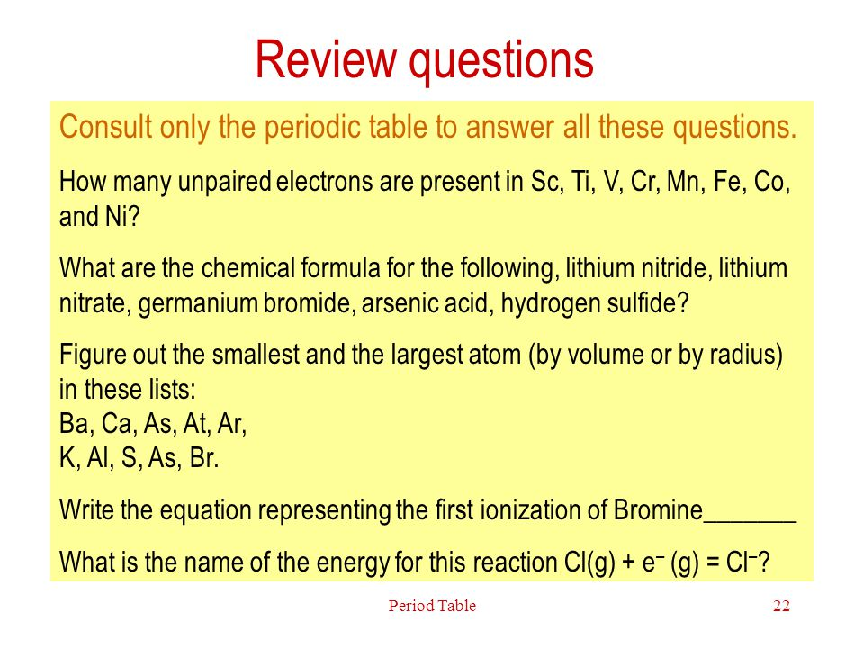 Review questions Consult only the periodic table to answer all these questions.