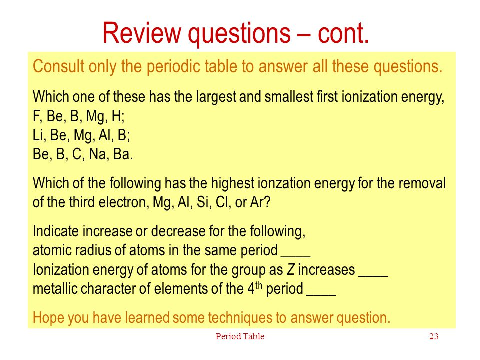 Review questions – cont.