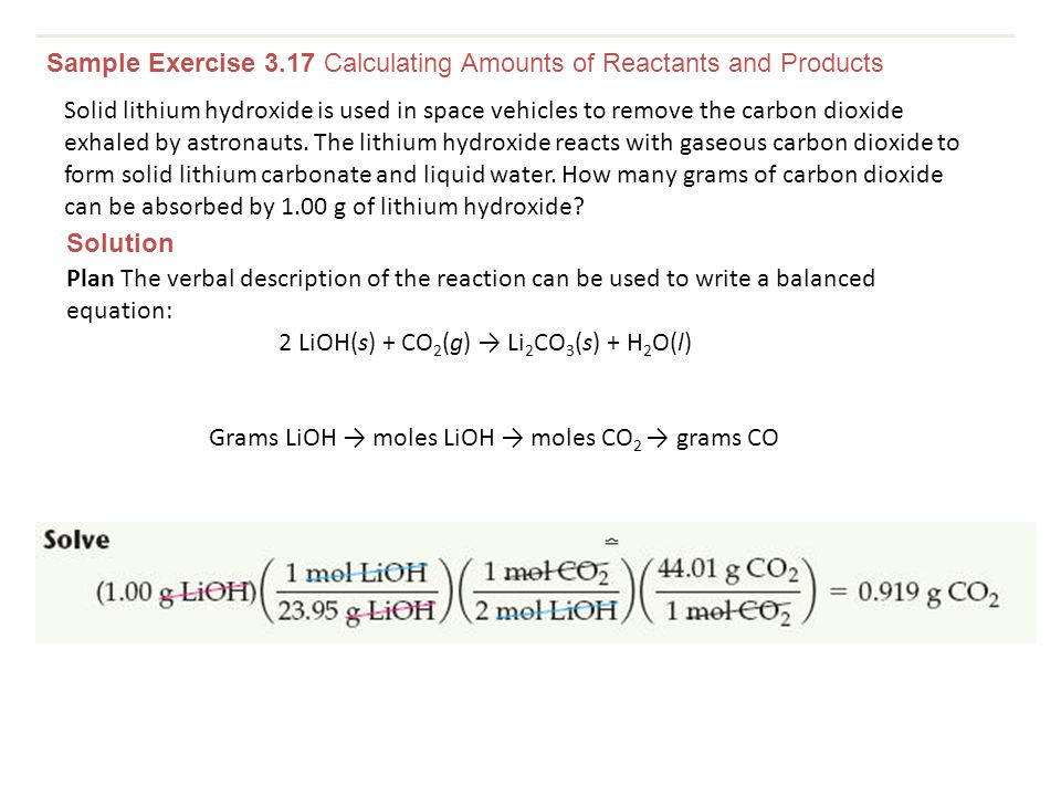 Sample Exercise 3.17 Calculating Amounts of Reactants and Products