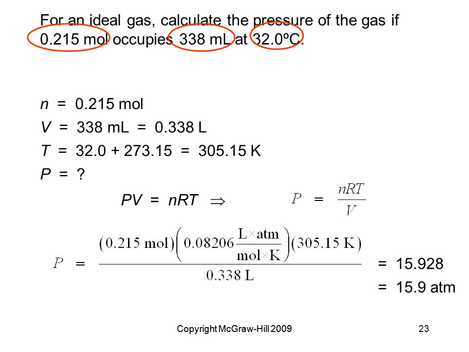 For an ideal gas, calculate the pressure of the gas if