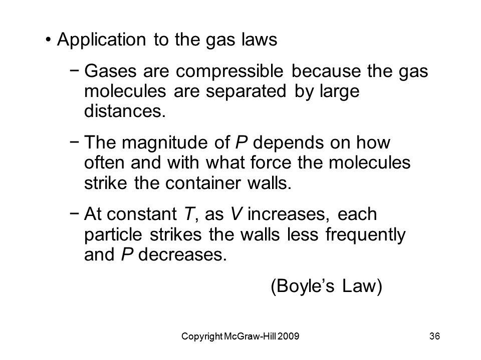 Application to the gas laws