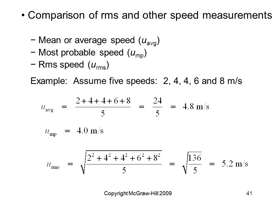 Comparison of rms and other speed measurements