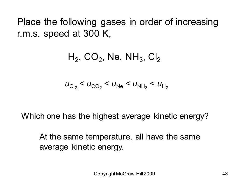 Place the following gases in order of increasing r. m. s