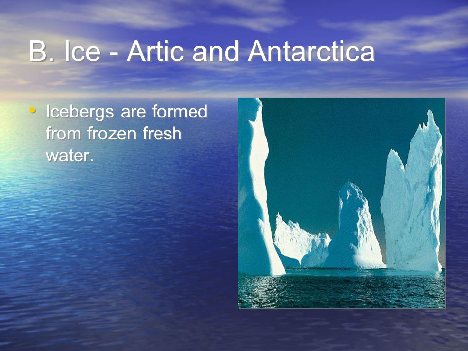 B. Ice - Artic and Antarctica
